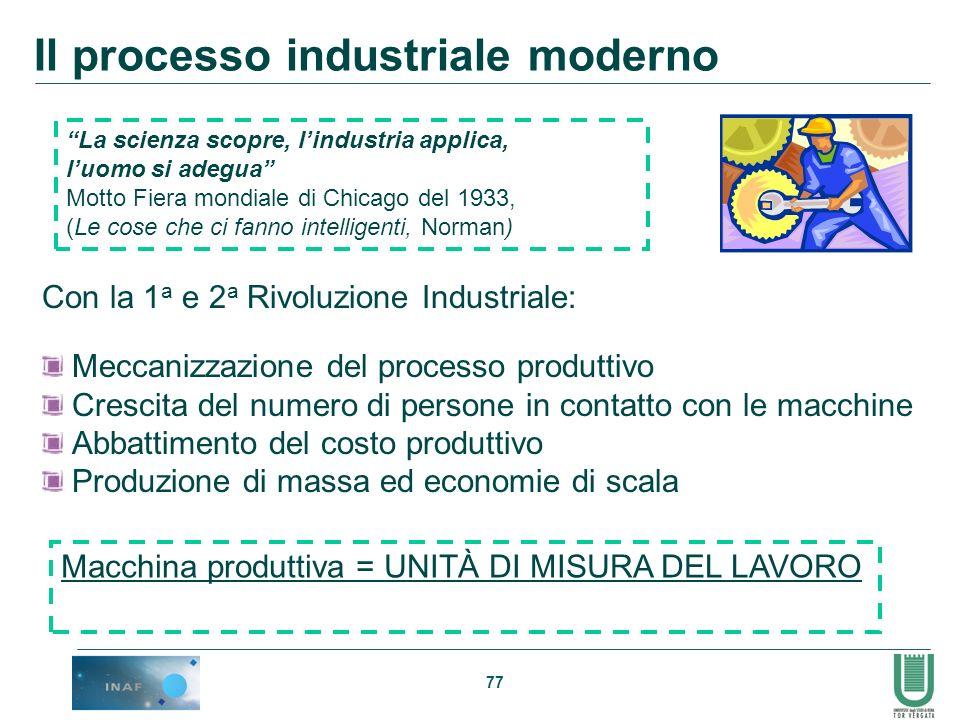 77 Il processo industriale moderno Con la 1 a e 2 a Rivoluzione Industriale: Meccanizzazione del processo produttivo Crescita del numero di persone in