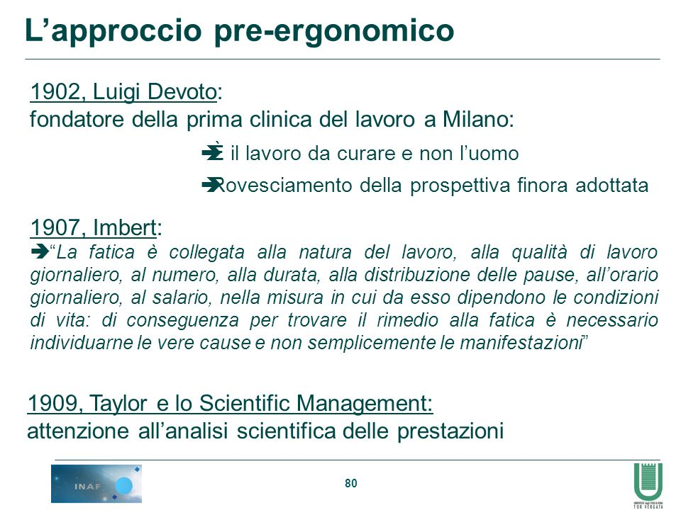 80 Lapproccio pre-ergonomico 1902, Luigi Devoto: fondatore della prima clinica del lavoro a Milano: 1907, Imbert: La fatica è collegata alla natura de