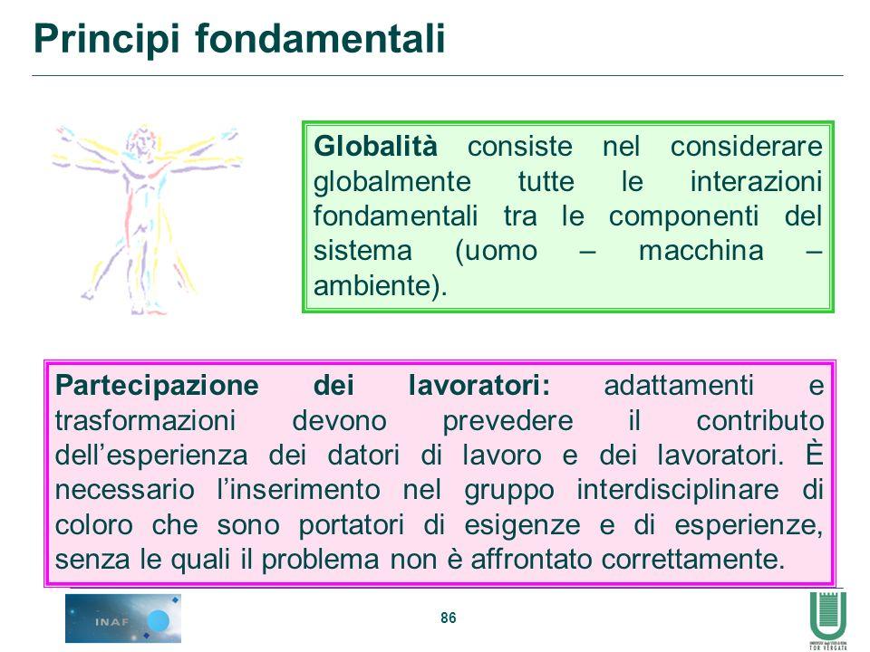 86 Globalità consiste nel considerare globalmente tutte le interazioni fondamentali tra le componenti del sistema (uomo – macchina – ambiente). Partec