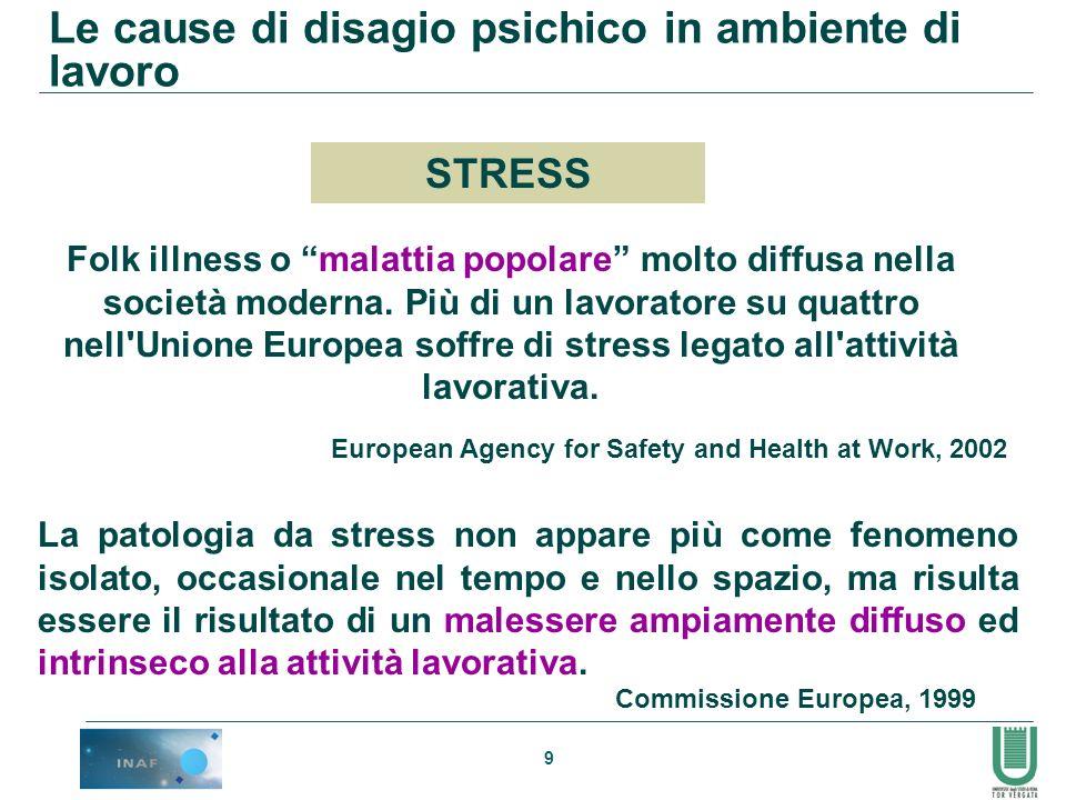 9 Folk illness o malattia popolare molto diffusa nella società moderna. Più di un lavoratore su quattro nell'Unione Europea soffre di stress legato al