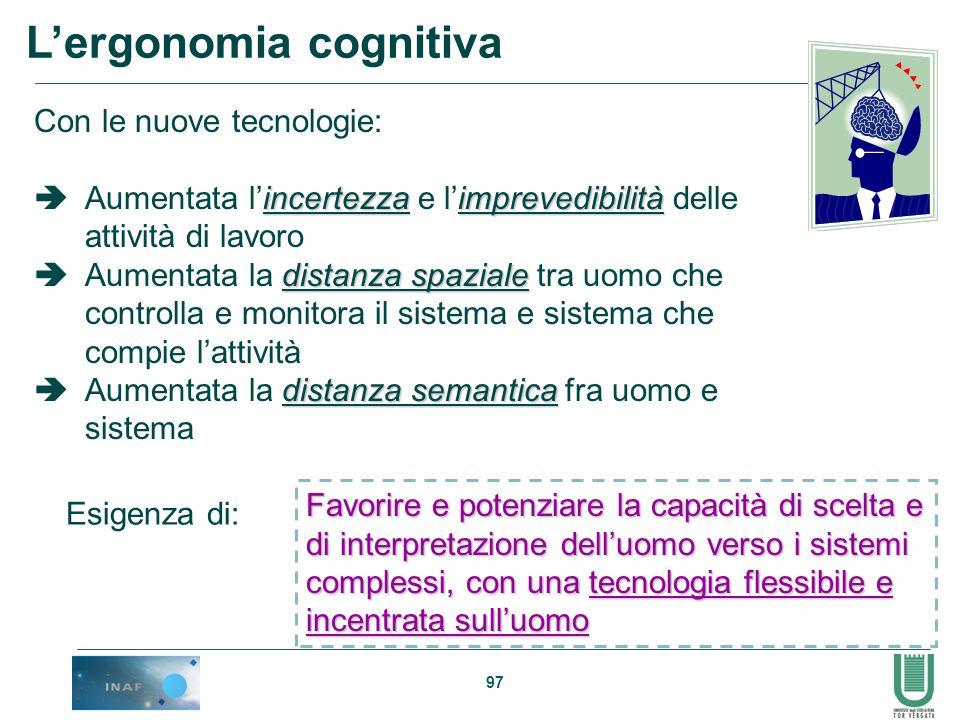 97 Lergonomia cognitiva Con le nuove tecnologie: incertezzaimprevedibilità Aumentata lincertezza e limprevedibilità delle attività di lavoro distanza
