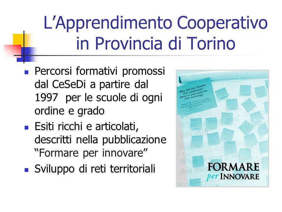LApprendimento Cooperativo in Provincia di Torino Percorsi formativi promossi dal CeSeDi a partire dal 1997 per le scuole di ogni ordine e grado Esiti