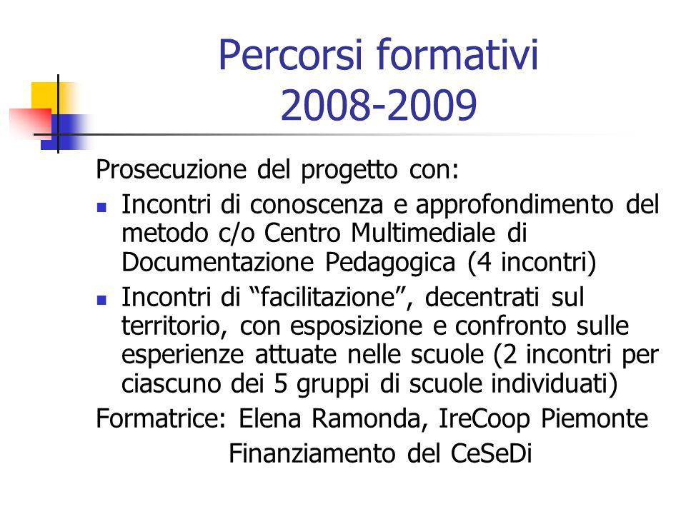 Percorsi formativi 2008-2009 Prosecuzione del progetto con: Incontri di conoscenza e approfondimento del metodo c/o Centro Multimediale di Documentazi