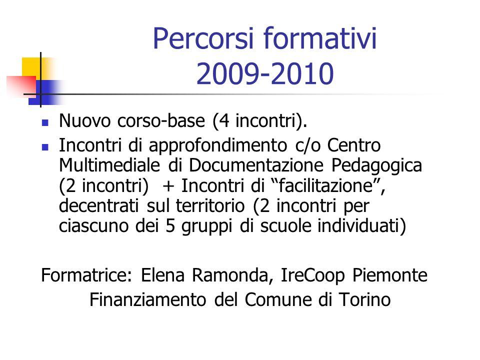 Percorsi formativi 2009-2010 Nuovo corso-base (4 incontri). Incontri di approfondimento c/o Centro Multimediale di Documentazione Pedagogica (2 incont