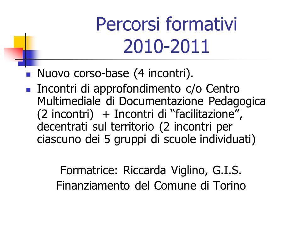 Percorsi formativi 2010-2011 Nuovo corso-base (4 incontri). Incontri di approfondimento c/o Centro Multimediale di Documentazione Pedagogica (2 incont