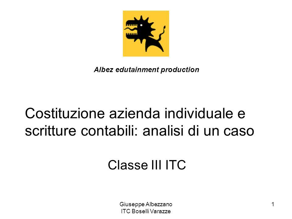 Giuseppe Albezzano ITC Boselli Varazze 2 Il 10 settembre il signor Claudio Betti di Bergamo ha costituito unimpresa individuale apportando un fabbricato del valore di 51.650, automezzi per 25.825, assegni bancari per 49.060 e denaro per 2.600.