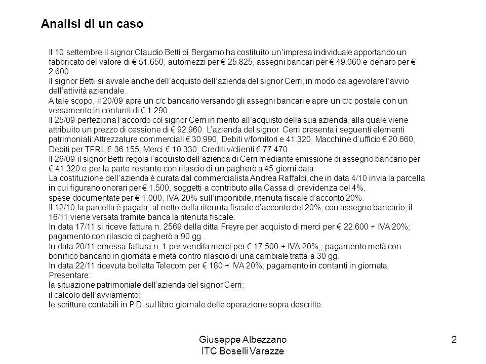 Giuseppe Albezzano ITC Boselli Varazze 2 Il 10 settembre il signor Claudio Betti di Bergamo ha costituito unimpresa individuale apportando un fabbrica