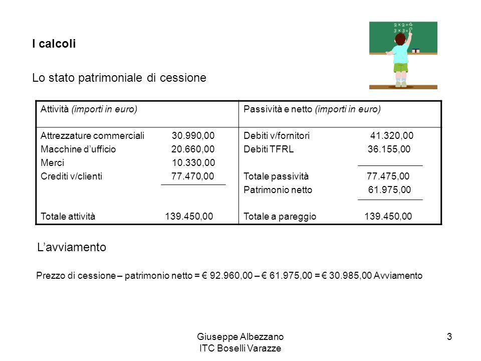 Giuseppe Albezzano ITC Boselli Varazze 3 I calcoli Lo stato patrimoniale di cessione Attività (importi in euro)Passività e netto (importi in euro) Att