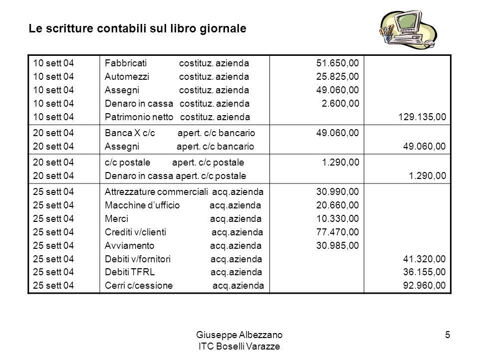 Giuseppe Albezzano ITC Boselli Varazze 5 Le scritture contabili sul libro giornale 10 sett 04 Fabbricati costituz. azienda Automezzi costituz. azienda