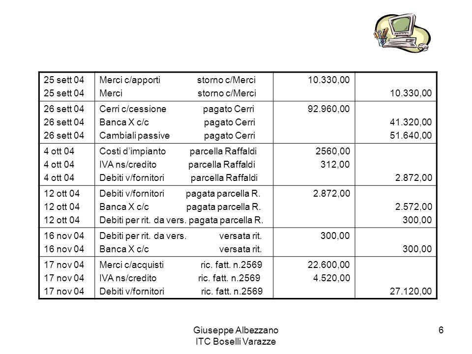 Giuseppe Albezzano ITC Boselli Varazze 6 25 sett 04 Merci c/apporti storno c/Merci Merci storno c/Merci 10.330,00 26 sett 04 Cerri c/cessione pagato C