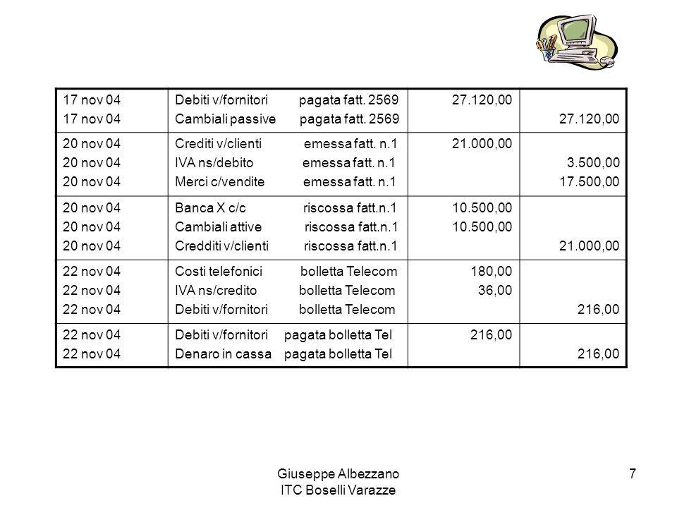 Giuseppe Albezzano ITC Boselli Varazze 7 17 nov 04 Debiti v/fornitori pagata fatt. 2569 Cambiali passive pagata fatt. 2569 27.120,00 20 nov 04 Crediti