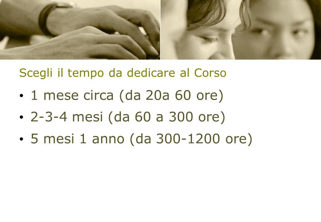 Scegli il tempo da dedicare al Corso 1 mese circa (da 20a 60 ore) 2-3-4 mesi (da 60 a 300 ore) 5 mesi 1 anno (da 300-1200 ore)