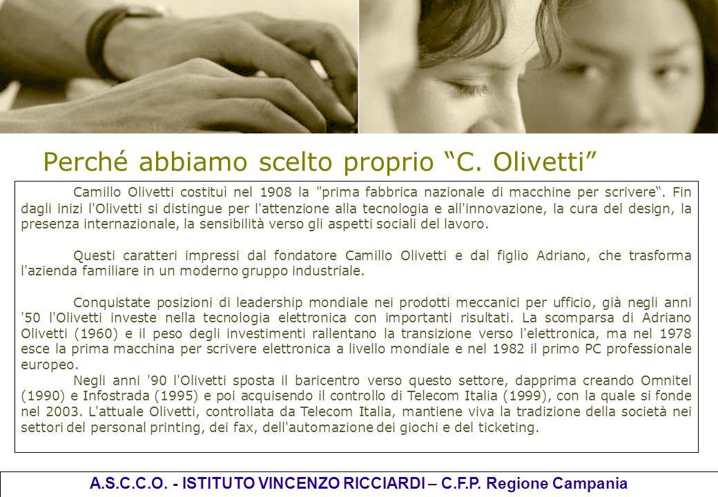 Perché abbiamo scelto proprio C. Olivetti Camillo Olivetti costituì nel 1908 la