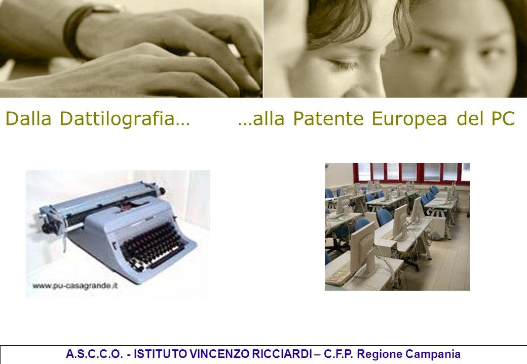 Dalla Dattilografia… …alla Patente Europea del PC A.S.C.C.O. - ISTITUTO VINCENZO RICCIARDI – C.F.P. Regione Campania
