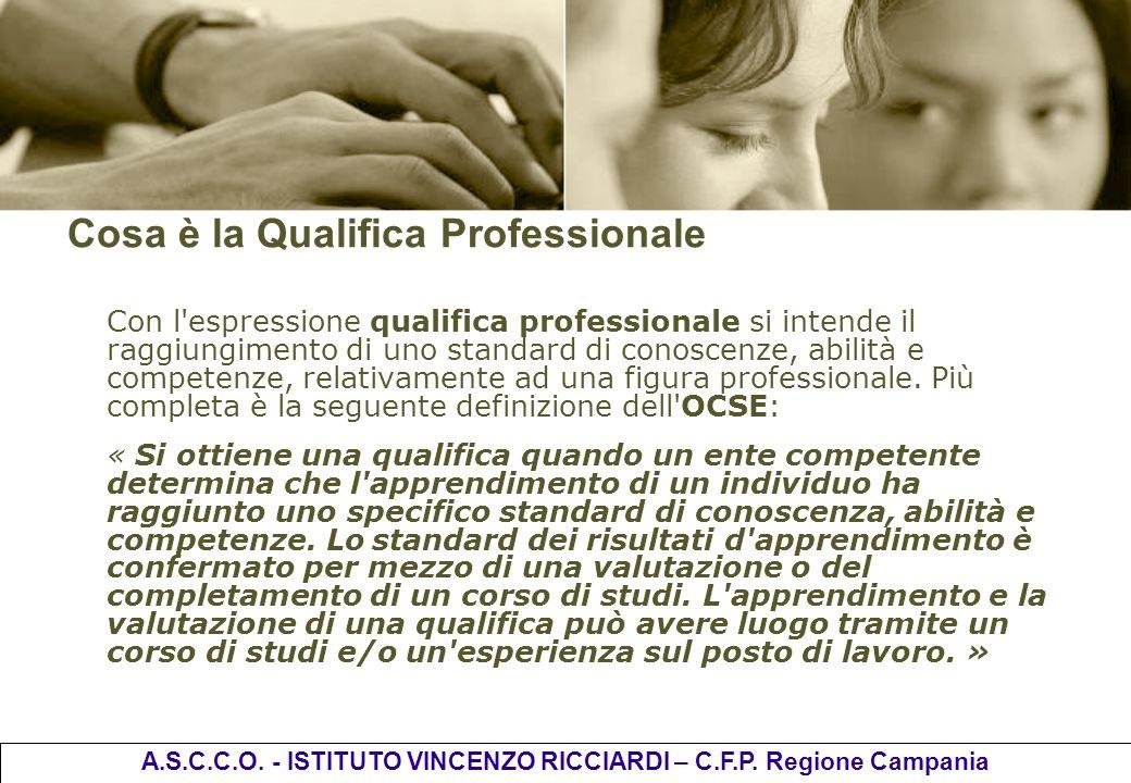 Cosa è la Qualifica Professionale Con l'espressione qualifica professionale si intende il raggiungimento di uno standard di conoscenze, abilità e comp