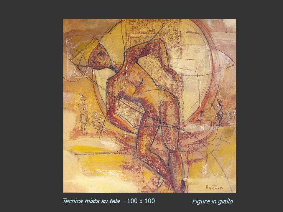 Tecnica mista su tela – 100 x 100 Figure in giallo