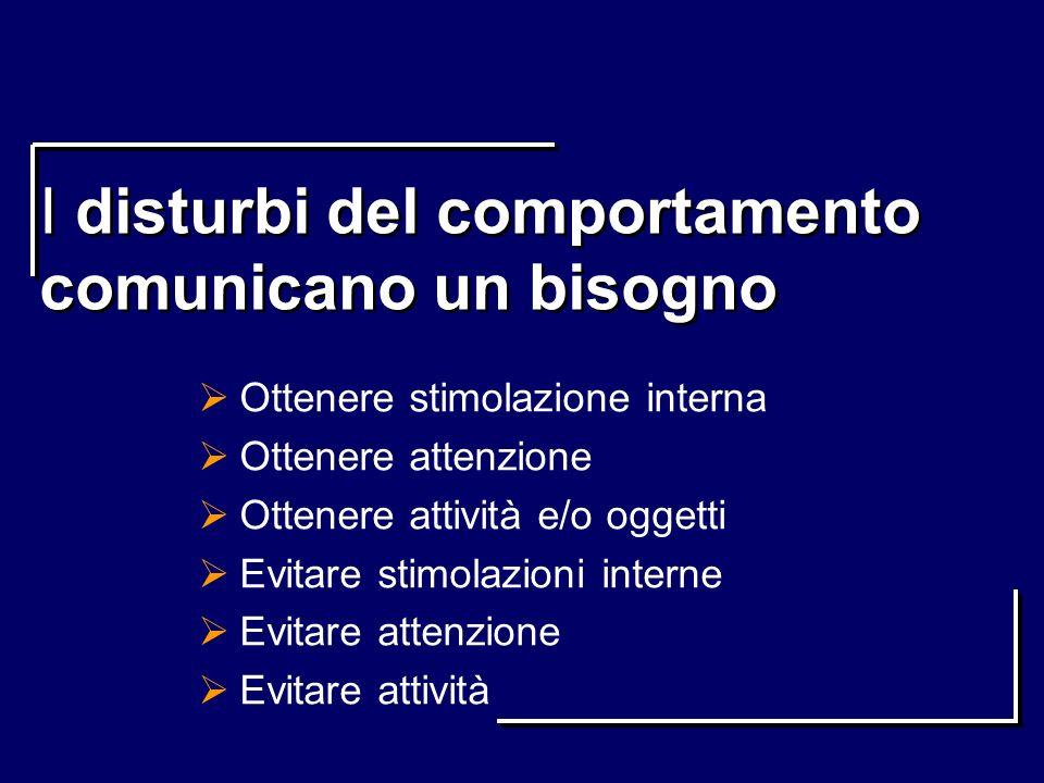 I disturbi del comportamento comunicano un bisogno Ottenere stimolazione interna Ottenere attenzione Ottenere attività e/o oggetti Evitare stimolazion
