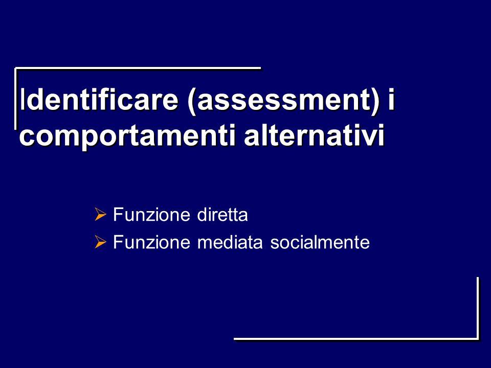 Identificare (assessment) i comportamenti alternativi Funzione diretta Funzione mediata socialmente