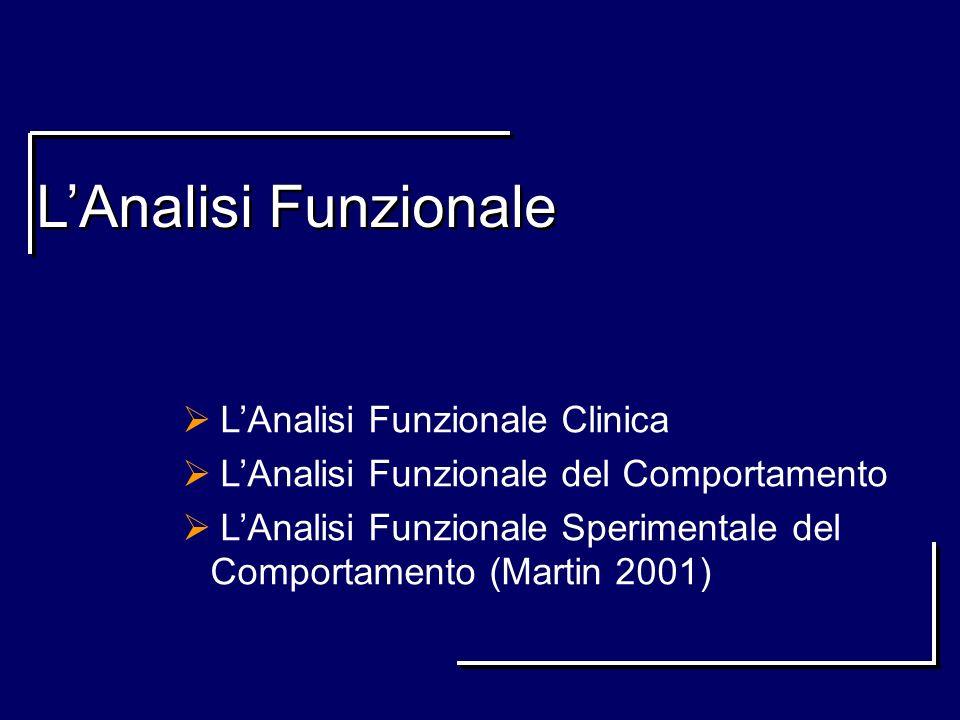 LAnalisi Funzionale LAnalisi Funzionale Clinica LAnalisi Funzionale del Comportamento LAnalisi Funzionale Sperimentale del Comportamento (Martin 2001)