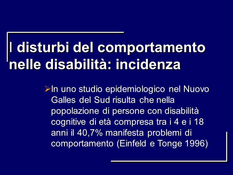 I disturbi del comportamento nelle disabilità: incidenza In uno studio epidemiologico nel Nuovo Galles del Sud risulta che nella popolazione di person