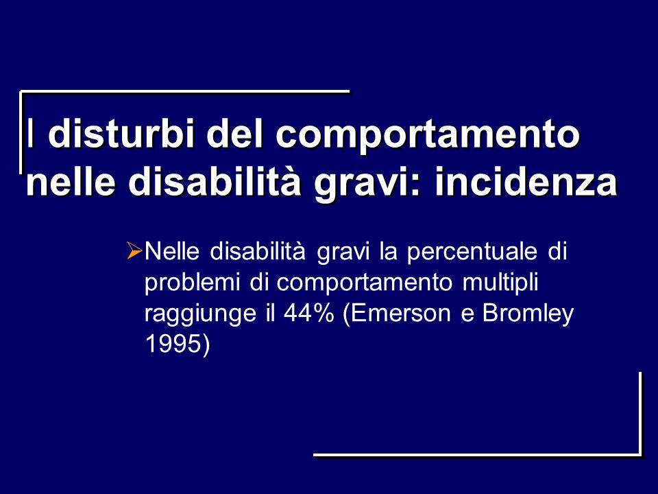 I disturbi del comportamento nelle disabilità gravi: incidenza Nelle disabilità gravi la percentuale di problemi di comportamento multipli raggiunge i