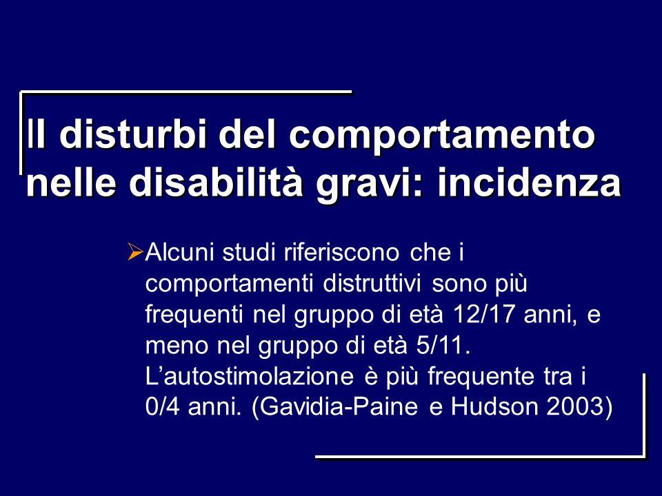 II disturbi del comportamento nelle disabilità gravi: incidenza Alcuni studi riferiscono che i comportamenti distruttivi sono più frequenti nel gruppo