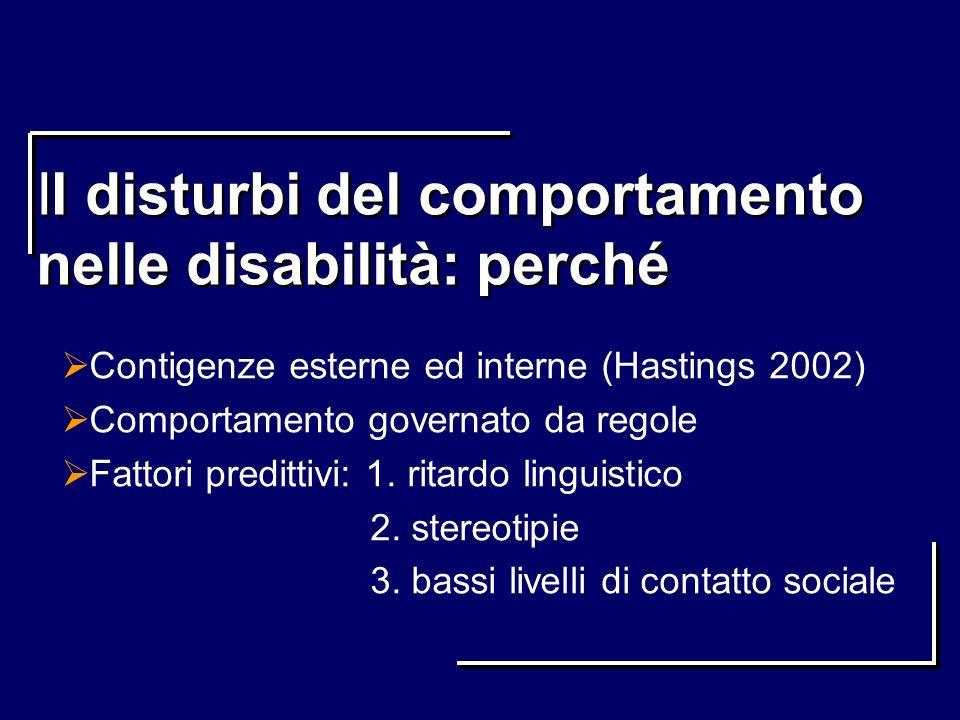 II disturbi del comportamento nelle disabilità: perché Contigenze esterne ed interne (Hastings 2002) Comportamento governato da regole Fattori preditt