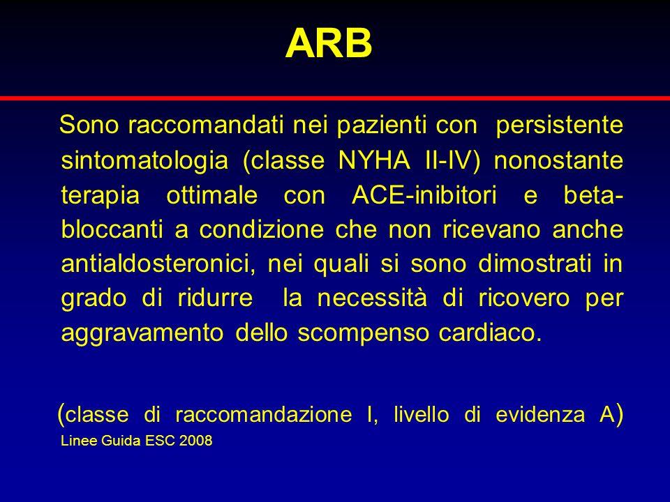 ARB Sono raccomandati nei pazienti con persistente sintomatologia (classe NYHA II-IV) nonostante terapia ottimale con ACE-inibitori e beta- bloccanti