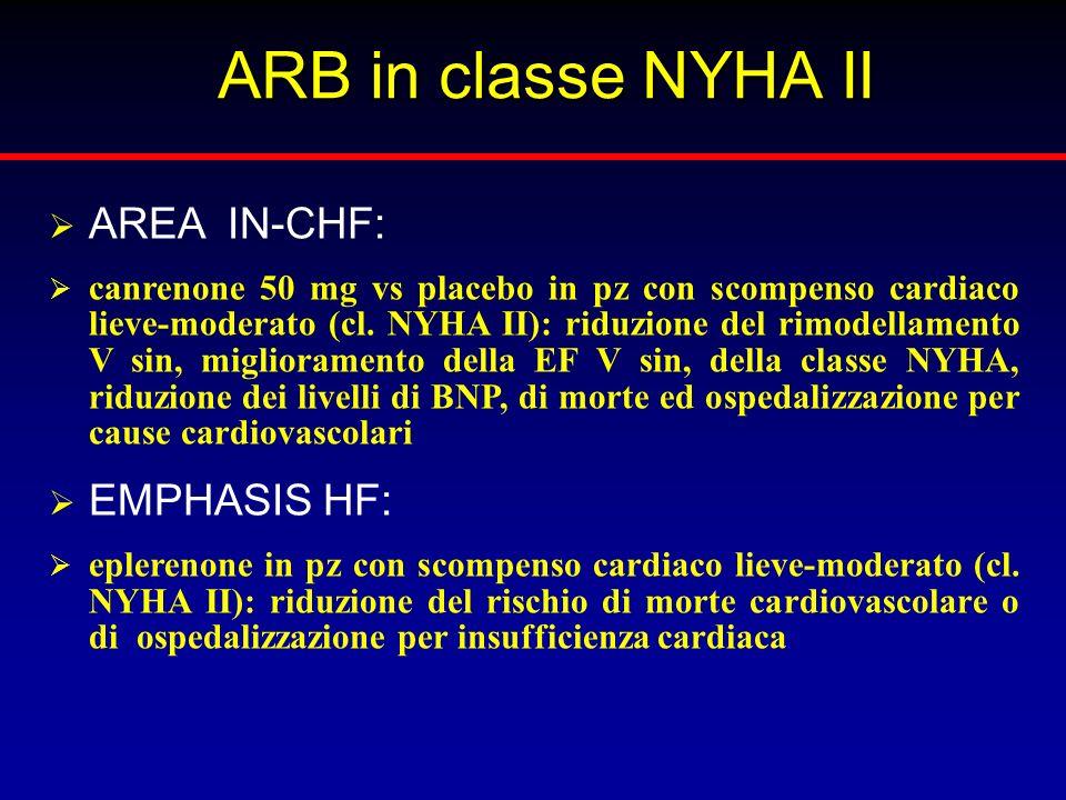 ARB in classe NYHA II AREA IN-CHF: canrenone 50 mg vs placebo in pz con scompenso cardiaco lieve-moderato (cl. NYHA II): riduzione del rimodellamento