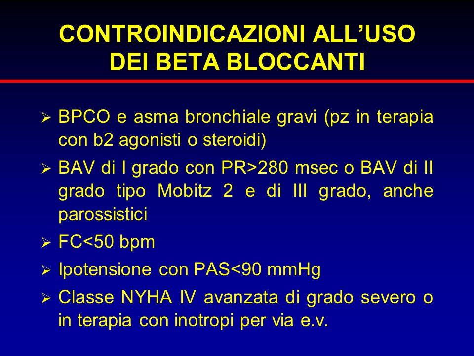 CONTROINDICAZIONI ALLUSO DEI BETA BLOCCANTI BPCO e asma bronchiale gravi (pz in terapia con b2 agonisti o steroidi) BAV di I grado con PR>280 msec o B