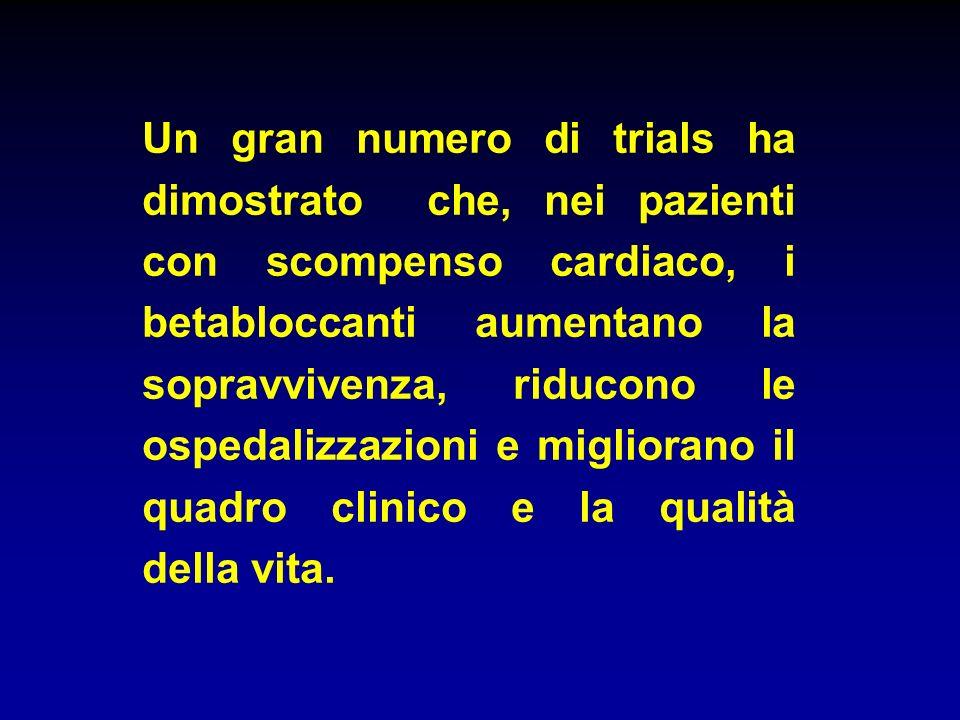 Un gran numero di trials ha dimostrato che, nei pazienti con scompenso cardiaco, i betabloccanti aumentano la sopravvivenza, riducono le ospedalizzazi