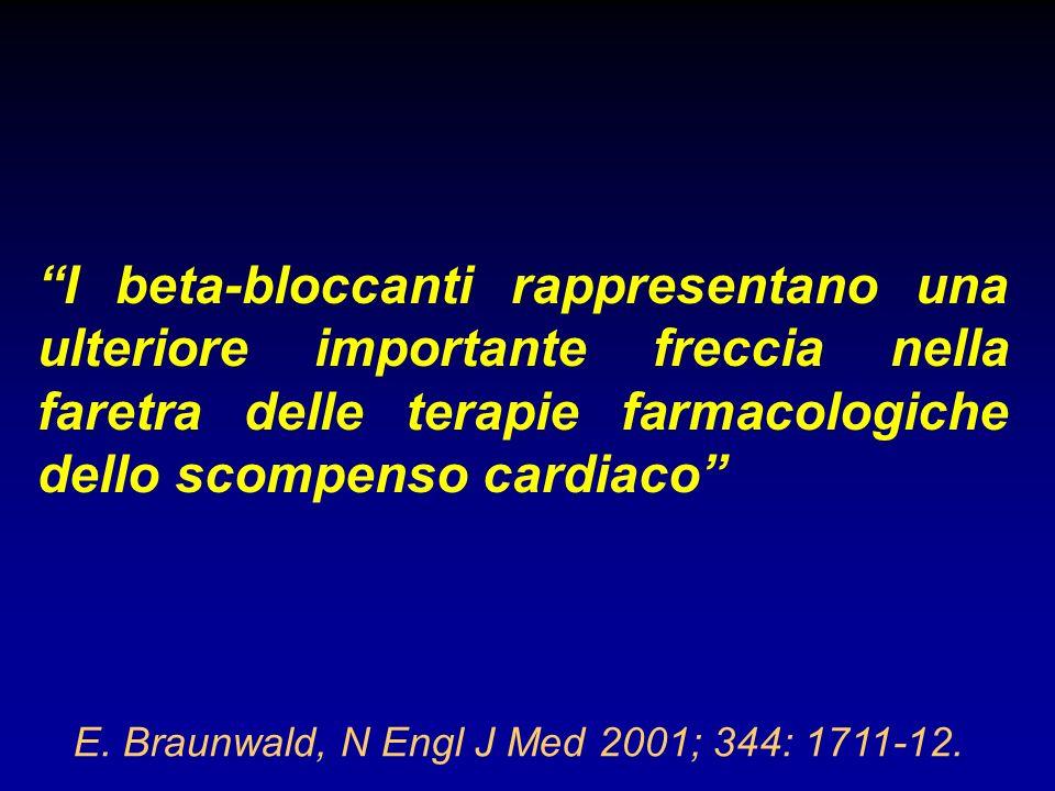 E. Braunwald, N Engl J Med 2001; 344: 1711-12. I beta-bloccanti rappresentano una ulteriore importante freccia nella faretra delle terapie farmacologi