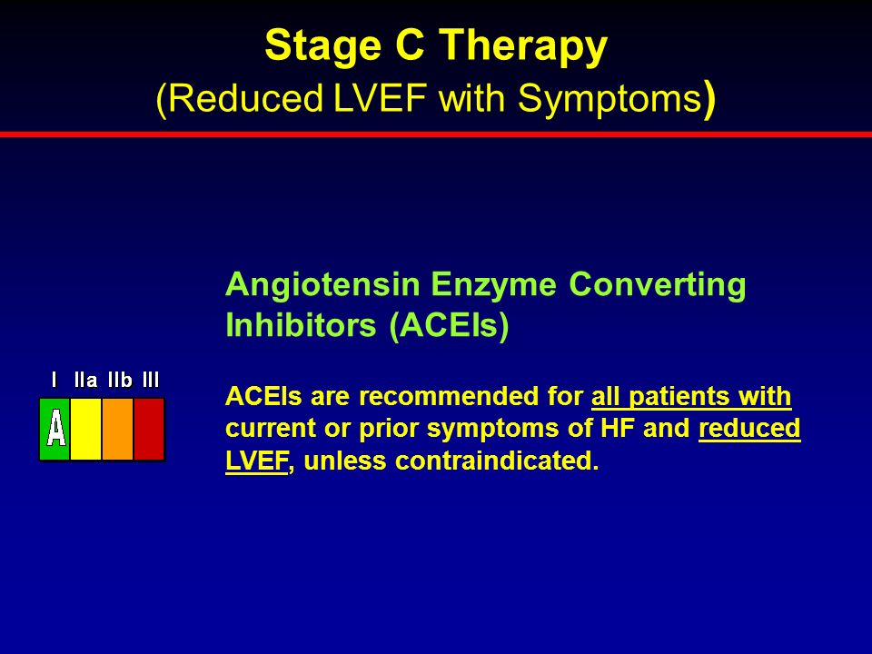 ACEIs are recommended for all patients with current or prior symptoms of HF and reduced LVEF, unless contraindicated. Angiotensin Enzyme Converting In