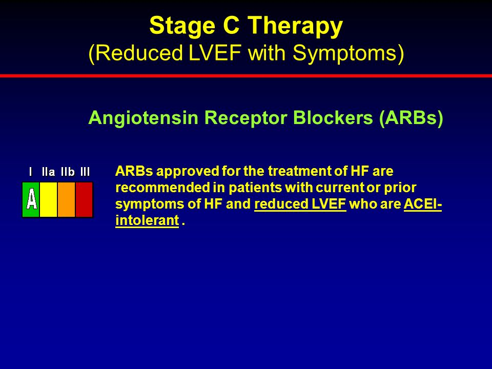 ARBs approved for the treatment of HF are recommended in patients with current or prior symptoms of HF and reduced LVEF who are ACEI- intolerant. Angi