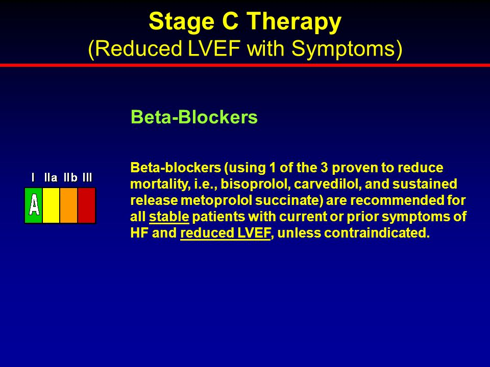 Beta-blockers (using 1 of the 3 proven to reduce mortality, i.e., bisoprolol, carvedilol, and sustained release metoprolol succinate) are recommended