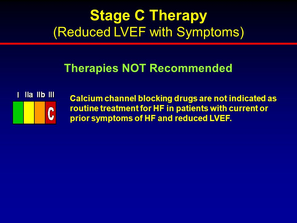 Calcium channel blocking drugs are not indicated as routine treatment for HF in patients with current or prior symptoms of HF and reduced LVEF. Therap