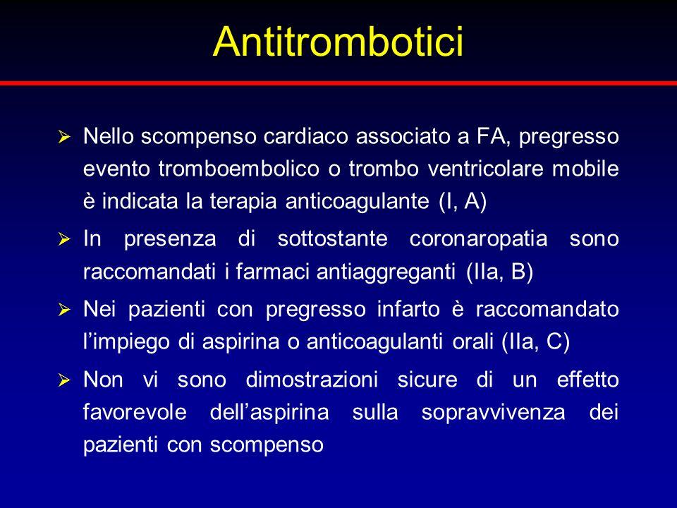 Antitrombotici Nello scompenso cardiaco associato a FA, pregresso evento tromboembolico o trombo ventricolare mobile è indicata la terapia anticoagula