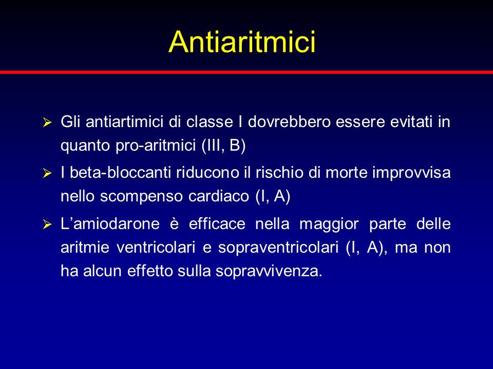Antiaritmici Gli antiartimici di classe I dovrebbero essere evitati in quanto pro-aritmici (III, B) I beta-bloccanti riducono il rischio di morte impr