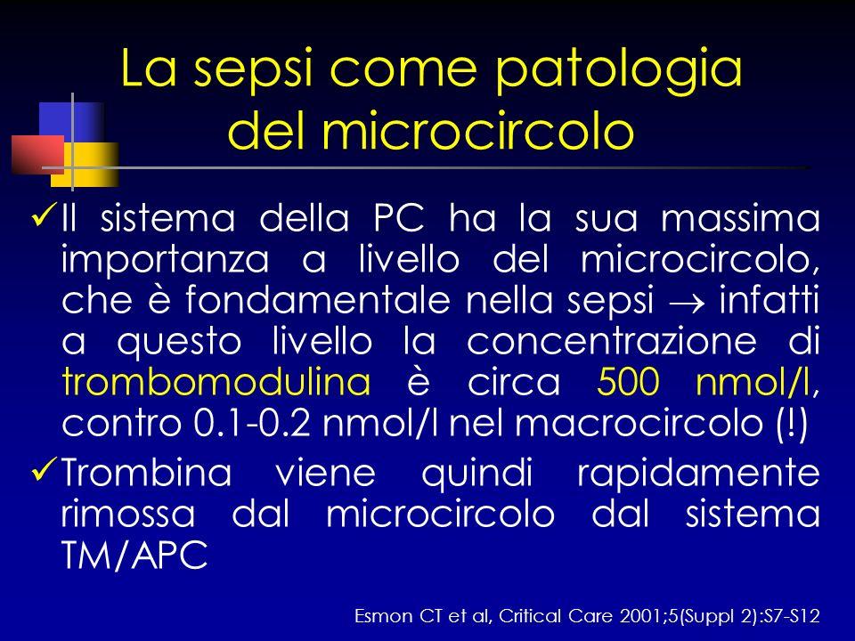 La sepsi come patologia del microcircolo Il sistema della PC ha la sua massima importanza a livello del microcircolo, che è fondamentale nella sepsi i