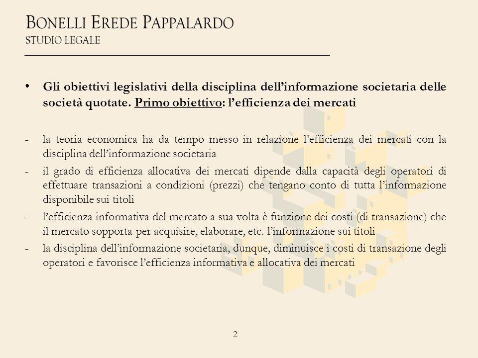2 Gli obiettivi legislativi della disciplina dellinformazione societaria delle società quotate. Primo obiettivo: lefficienza dei mercati -la teoria ec