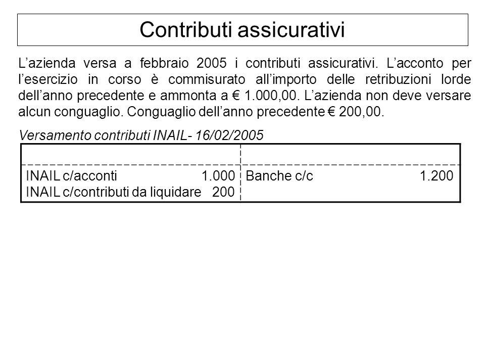 Contributi assicurativi Lazienda versa a febbraio 2005 i contributi assicurativi. Lacconto per lesercizio in corso è commisurato allimporto delle retr
