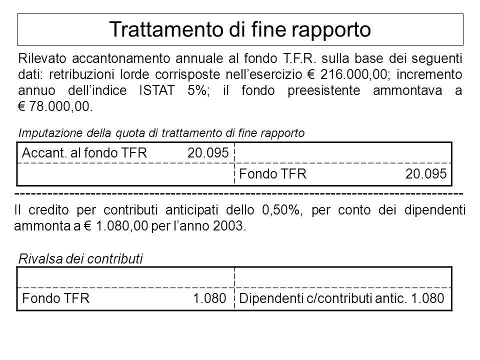 Trattamento di fine rapporto Rilevato accantonamento annuale al fondo T.F.R. sulla base dei seguenti dati: retribuzioni lorde corrisposte nellesercizi