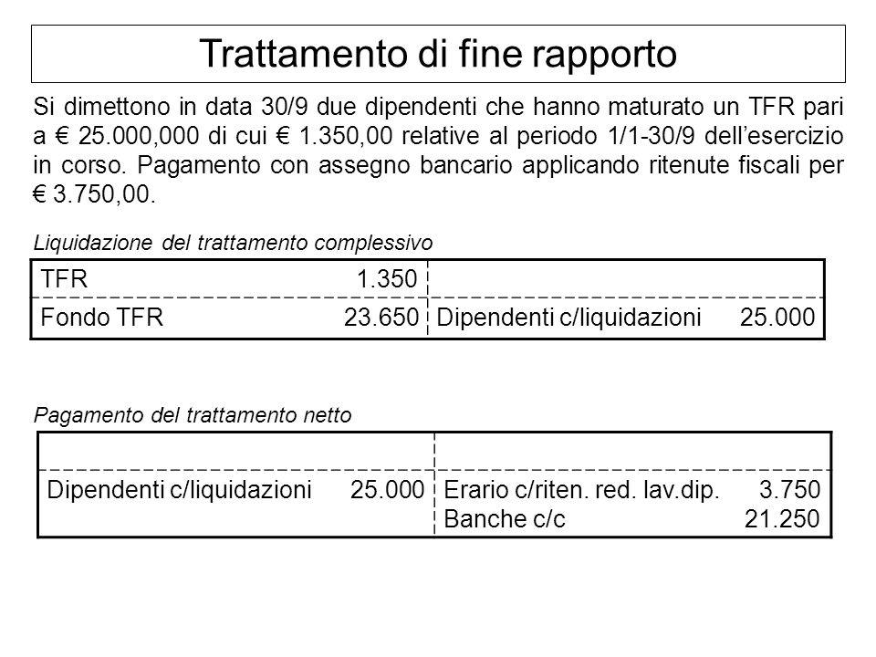 Trattamento di fine rapporto Si dimettono in data 30/9 due dipendenti che hanno maturato un TFR pari a 25.000,000 di cui 1.350,00 relative al periodo