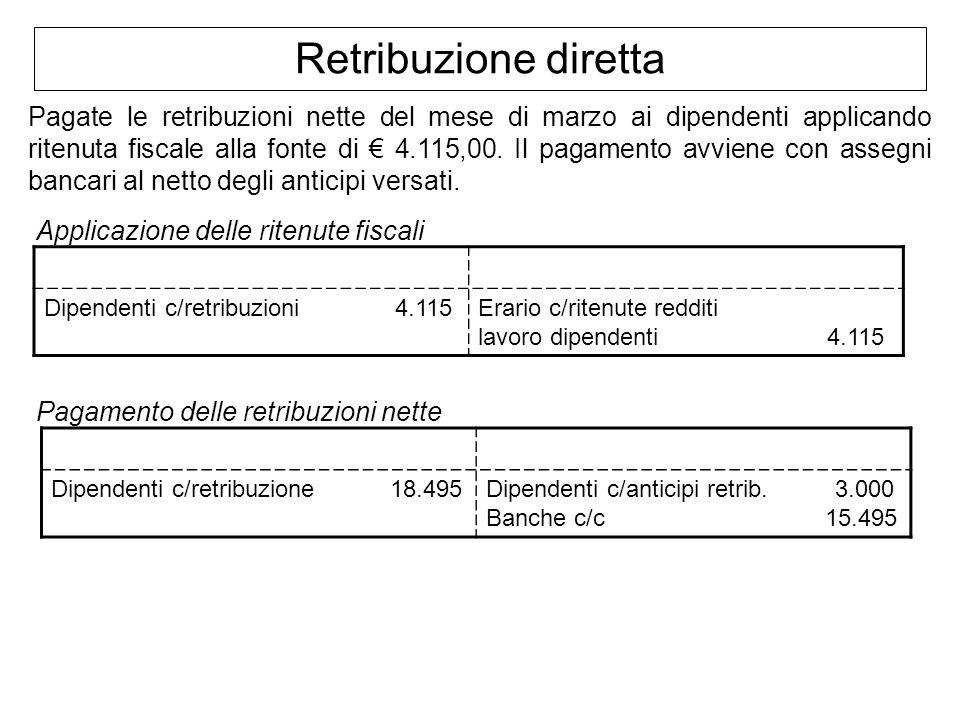 Retribuzione diretta Pagate le retribuzioni nette del mese di marzo ai dipendenti applicando ritenuta fiscale alla fonte di 4.115,00. Il pagamento avv