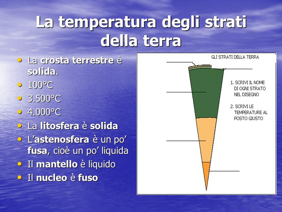 La temperatura degli strati della terra La crosta terrestre è solida.