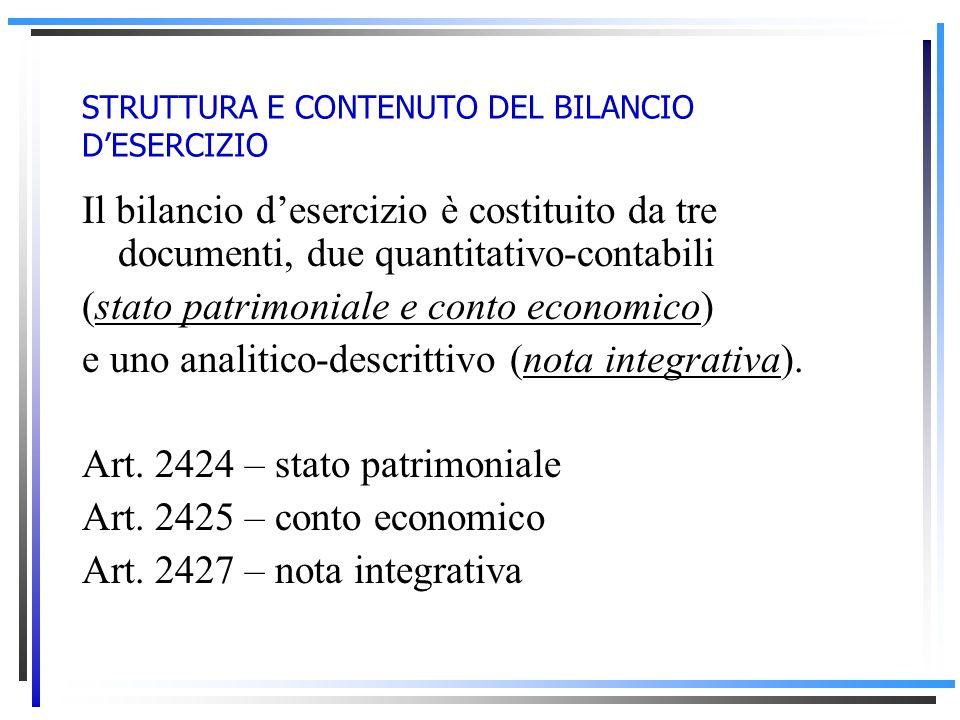 STRUTTURA E CONTENUTO DEL BILANCIO DESERCIZIO Il bilancio desercizio è costituito da tre documenti, due quantitativo-contabili (stato patrimoniale e conto economico) e uno analitico-descrittivo (nota integrativa).