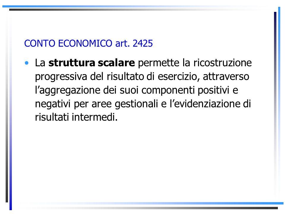 CONTO ECONOMICO art. 2425 È il documento contabile deputato ad evidenziare lammontare del reddito attribuibile al periodo amministrativo, ed il suo pr