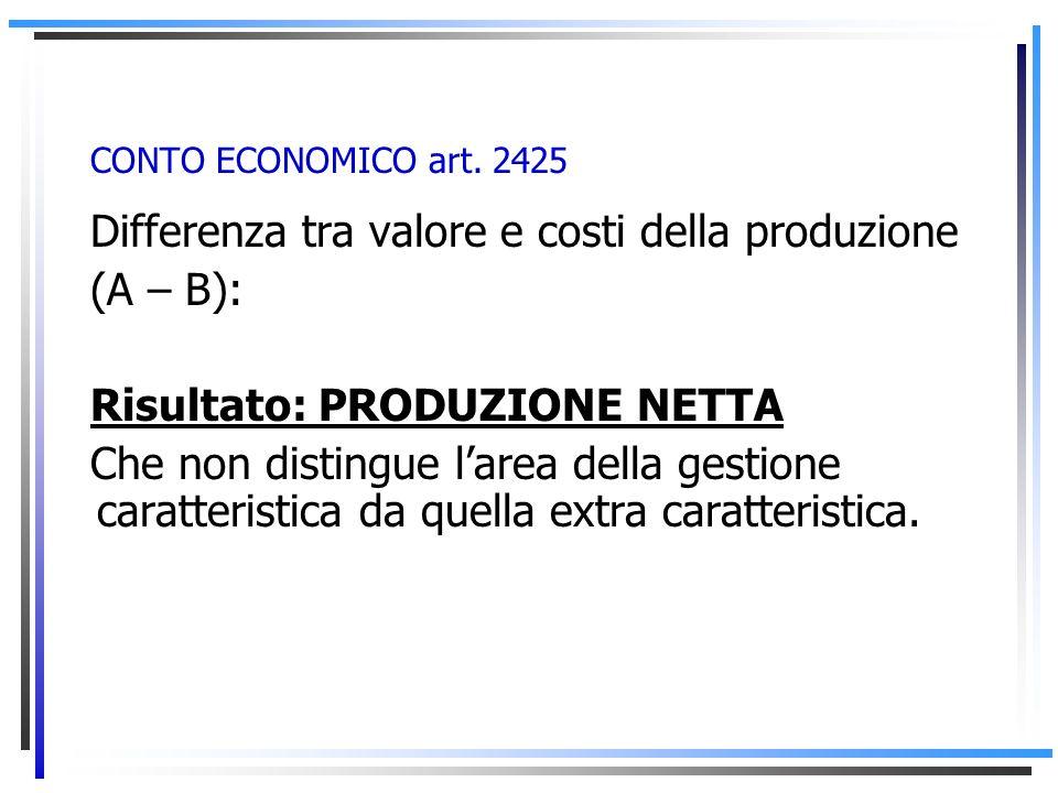 CONTO ECONOMICO art. 2425 Macroclasse B): COSTI DELLA PRODUZIONE -Costi inerenti al valore della produzione, quindi risultano strettamente correlati c