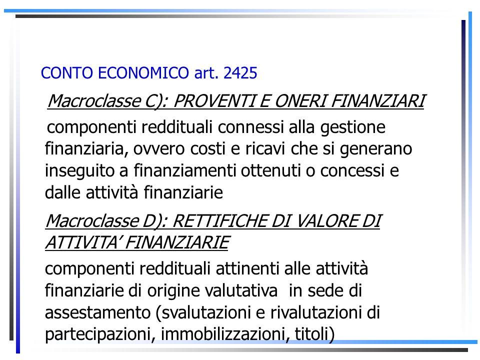 CONTO ECONOMICO art. 2425 Differenza tra valore e costi della produzione (A – B): Risultato: PRODUZIONE NETTA Che non distingue larea della gestione c