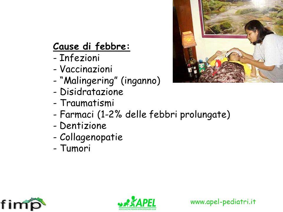 www.apel-pediatri.it Cause di febbre: - Infezioni - Vaccinazioni - Malingering (inganno) - Disidratazione - Traumatismi - Farmaci (1-2% delle febbri p